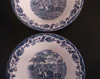 Pottery Hearty Pair Of Vintage Alfred Meakin Open Tureens Serving Dishes Country Life Pattern Pottery, Porcelain & Glass
