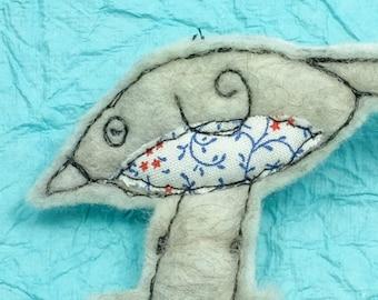 Original textile art handmade Merino wool felt brooch white BIRD  (BRWBRD)