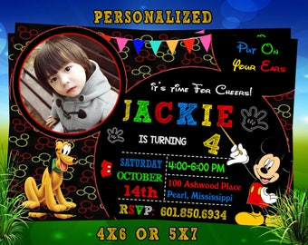 Mickey Mouse Invitaions, Mickey Mouse Party Invitation, Mickey Mouse Printable, Micky Birthday Party