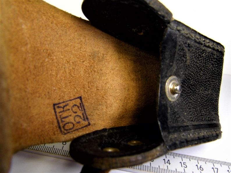 Old vintage retro Soviet Union USSR CCCP black leather case bag OTK 22 authentic rare unique collectible item for collection 220sr
