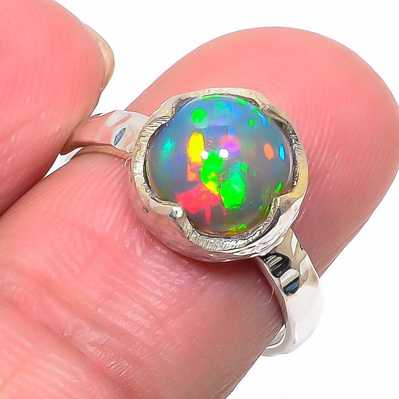 Natural  Ethiopian Fire Opal Gemstone ring Birthstone Gift fro her Handmade 925 Sterling Silver Jewelry Ring