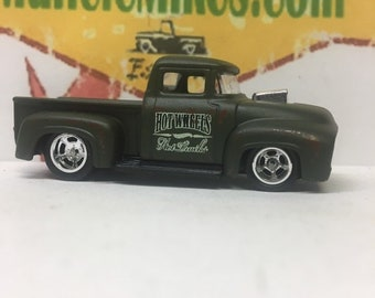 Custom Hot Wheels Custom 1956 Ford Truck Green with Rubber Tires and Drag Lite Wheels