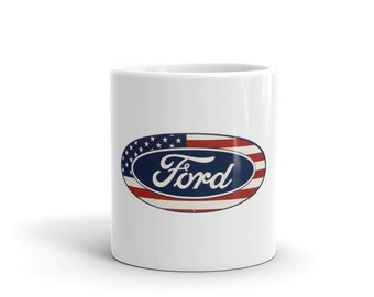 Hot Rod Coffee Mug - Coffee Cup - Tea Cup - Coco Cup - American Flag Ford Cup Free Shipping!
