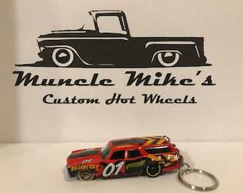 Hot Wheels 1970 Chevelle red wagon stationwagon derby dirt track Christmas Ornament,  Keychain or Zipper Pull