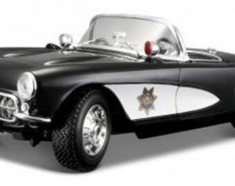 Collectible 1/18 Scale Diecast 1957 Corvette Police Car (Black White)