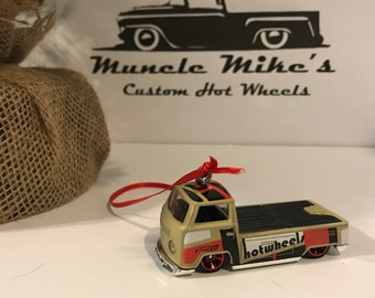 Hot Wheels Christmas Ornament One Custom  tan/red/black Volkswagen VW T2 pickup truck Christmas Ornament