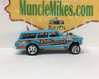 Hot Wheels 1964 Chevy Nova Station Wagon Gasser Drag Car With Rubber Tires And Drag Lite Wheels