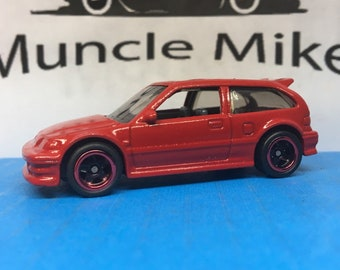 Hot Wheels Honda Civic EF Red Lip Wheels and Rubber Tires Custom Painted CARDINAL RED