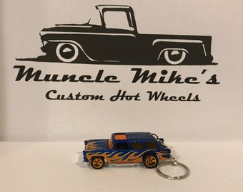 Hot Wheels 1955 Chevy Nomad wagon blue with orange flames Christmas Ornament,  Keychain or Zipper Pull