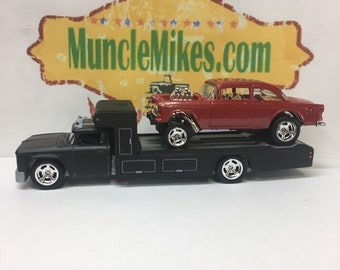 Custom Hot Wheels 1966 Chevy Race Hauler Flat Black Paint and a 1955 Chevy Gasser Drag Car Brilliant Red Pearl Paint COMBO