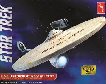 Plastic Airplane Model Kit: AMT-1080 Star Trek USS Enterprise NCC1701 Refit Free Shipping!
