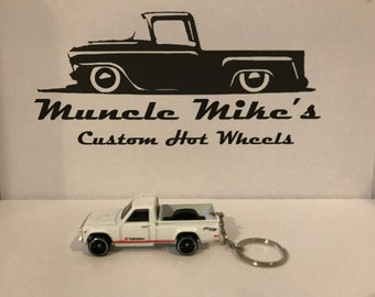 Hot Wheels white Mazda REPU DTX00 pickup truck Christmas Ornament,  Keychain or Zipper Pull