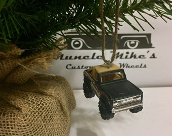 Hot Wheels Christmas Ornament Matchbox 1972 Ford Bronco 4x4 Skyjacker camo Christmas Ornament or can convert to keychain