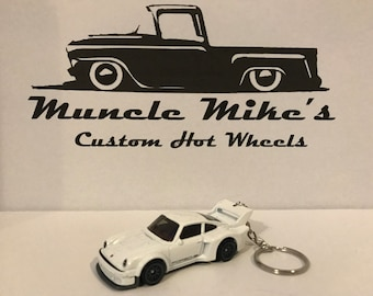 Hot Wheels white Porsche 934.5 Christmas Ornament,  Keychain or Zipper Pull