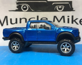 Hot Wheels 2017 Ford F-150 Raptor Lifted With Wheels And Rubber Tires Custom Painted Blue