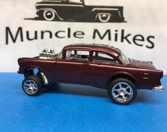 Hot Wheels 1955 Chevy Gasser Rubber Tires Custom Painted Dark Garnet Red Pearl
