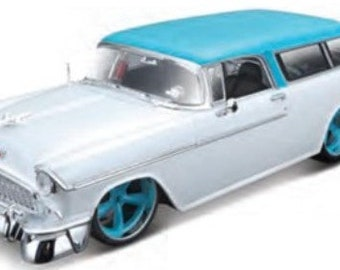 Collectible 1/18 Scale Diecast 1955 Chevrolet Nomad Custom (Met. White Turquoise)