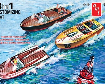 Plastic Model Kit: AMT-1056 Customizing Boat With Trailer (3 in 1) Plastic Boat Model Free Shipping!