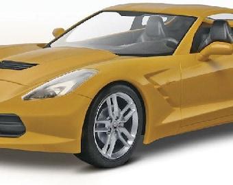 Plastic Model Kit RMX-1982 2014 Corvette Stingray (Yellow) (Snap) Plastic Car Model Free Shipping!