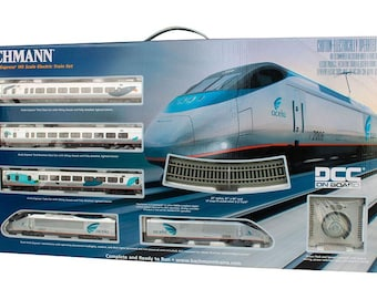 Model Railroading BAC-1205 Bachmann Trains - Amtrak Acela DCC Equipped Ready To Run Electric Train Set - HO Scale