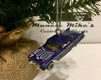 Hot Wheels Christmas Ornament Custom 2003  purple 1957 57 Cadillac El Dorado Brougham Pride Rides lowrider
