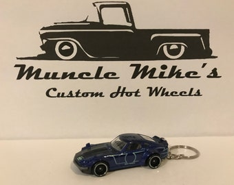 Hot Wheels Blue Custom Datsun 240z Christmas Ornament,  Keychain or Zipper Pull