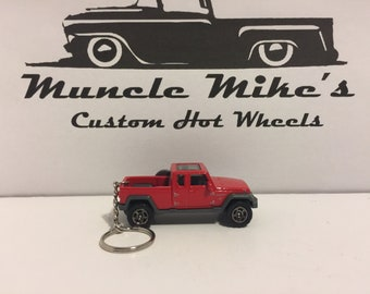Custom Matchbox red '17 2017 Jeep Gladiator pickup truck  (not Hot Wheels) Christmas Ornament,  Keychain or Zipper Pull