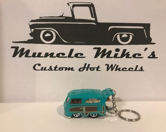 Custom rare Hot Wheels Surf Shop Volkswagen VW bus Kool Kombi Teel/Turquoise Christmas Ornament,  Keychain or Zipper Pull