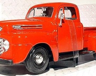 Collectible 1/24 Scale Diecast 1948 Ford F1 Pickup (Red) Diecast Model from Maisto