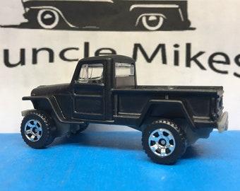Custom Matchbox Willys Jeep Pick Up Truck Custom Pained FLAT BLACK