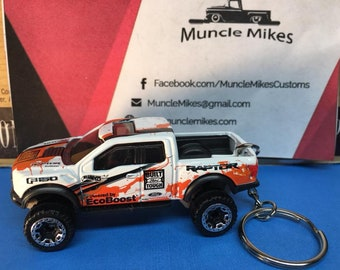 Custom Hot Wheels Ford Raptor Christmas Ornament,  Keychain or Zipper Pull