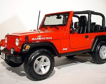 Collectible 1/18 Scale Diecast Jeep Wrangler Rubicon (Red)