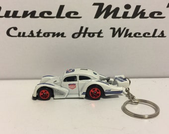"Hot Wheels white ""urban outlaw"" VW Volkswagen Kafer Racer DTW93 Christmas Ornament,  Keychain or Zipper Pull"