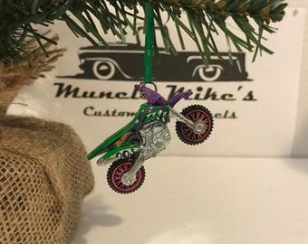 Hot Wheels Christmas Ornament One Custom rare  Daredevils offroad motorcycle dirt bike pink green purple Christmas Ornament