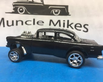 Hot Wheels 1955 Chevy Gasser Chrome Wheels and Rubber Tires Custom Painted BLACK PEARL
