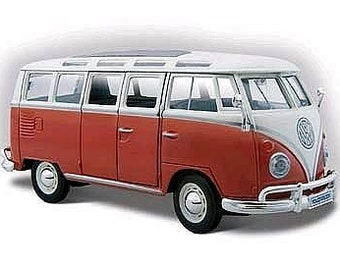 Collectible 1/24 Scale Diecast 1960's Style VW Window Van (Red Cream) Diecast Model from Maisto