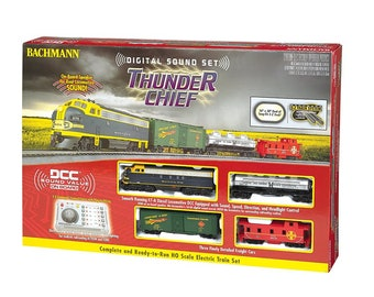 Model Railroading BAC-826 Bachmann Trains - Thunder Chief DCC Sound Value Ready To Run Electric Train Set - HO Scale