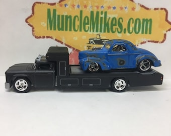 Custom Hot Wheels 1966 Chevy Race Hauler Flat Black Paint and a Patina Blue 1941 Willys COMBO