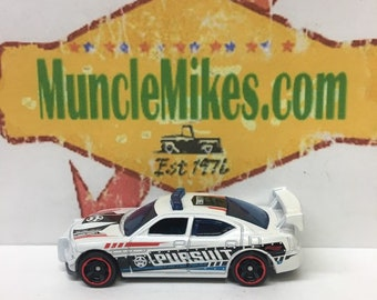 Hot Wheels & Display Case Dodge Charger Drift Police WHITE Mopar