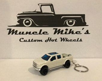 Hot Wheels white 2015 '15 Ford F-150 pickup truck  custom painted Christmas Ornament,  Keychain or Zipper Pull