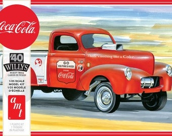 Plastic Model Kit amt-1145 Coca-Cola 1940 Willys Gasser Pickup Truck Plastic Car Model + Best Deal Online + DISPLAY CASE INCLUDED +