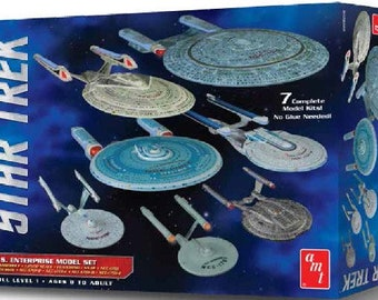 Plastic Airplane Model Kit: AMT-954 Star Trek USS Enterprise Set NX01 NCC1701 NCC1701 Refit NCC1701B C D E  7 Snap Kits
