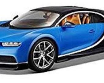 Collectible 1/24 Scale Diecast Bugatti Chiron (Blue Black) Diecast Model from Maisto