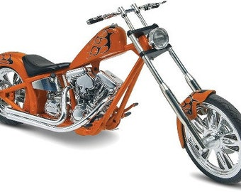 Plastic Model Kit rmx-7324 Custom Chopper Motorcycle Plastic Model + Best Deal Online + DISPLAY CASE INCLUDED +