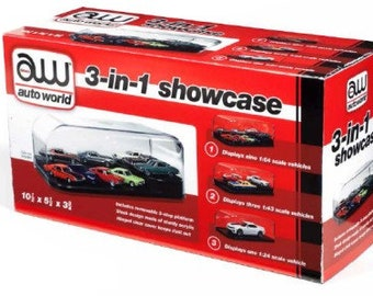 Plastic Model and Diecast Display Case 3-in-1 Auto Plastic Display Showcase for 1/64, 1/43, 1/24
