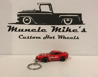 Hot Wheels red Greddy Nissan Fairlady Z #94 racecar Christmas Ornament,  Keychain or Zipper Pull