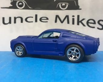 Hot Wheels 1967 Mustang Shelby GT 500 Rubber Tires and FR-500 Racing Wheels Custom Painted Satin Ink Blue