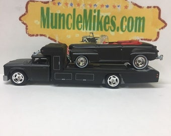 Custom Hot Wheels 1966 Chevy Race Hauler Flat Black Paint and Biffs Back To The Future 1940 Ford COMBO