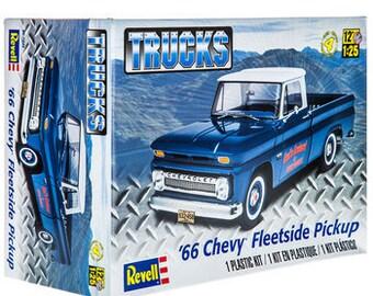 1966 Chevy Fleetside Pickup Chevy Truck 1:25 Model Kit Bausatz Revell 7225