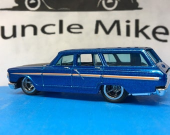 Custom Matchbox 1964 Ford Fairlane Station Wagon With Rubber Tires and American Racing Wheels
